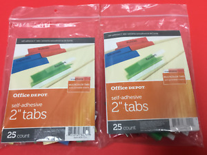 Office Depot Self adhesive 2 Tabs Lot Of 2 New