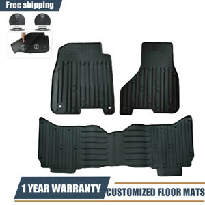 3pcs For Dodge Ram 1500 2500 3500 Crew Cab Front Rear Floor Mats Liners