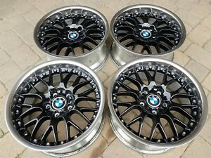 Bmw E28 M5 E24 M6 E30 M3 E39 M5 Oem Bbs Rs740 Style 42 17x8 Wheels Rim Wet Black