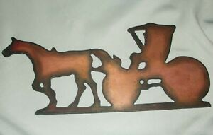 Vintage Rustic Antique Solid Copper Horse Buggy Weathervane Topper