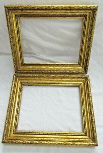 2 Antique Fits 6 5x8 75 Gold Picture Frames Wood Gesso Ornate Fine Art Country