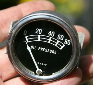 Niehoff Vintage 0 80 Lbs Oil Pressure Gauge Curved Glass