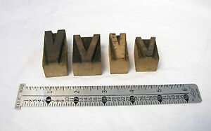 Lot Of 4 Antique Letterpress Wood Type Letter v Printing Blocks