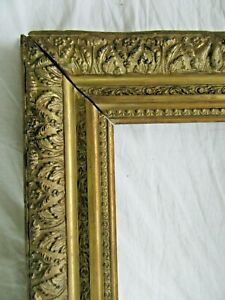 Big Antique Victorian Fits 18 5 X 22 5 Gold Picture Frame Wood Gesso Ornate Art