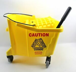 Rubbermaid Commercial Yellow Brute Mop Bucket 6127 Side Pressure Wringer 7580 00