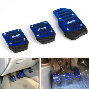 3x Blue Non Slip Treadle Manual Car Brake Accelerator Foot Pedal Pad Cover