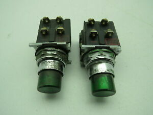 Cutler Hammer 10250t Push Button Pilot Light Momentary 120v Green Lot Of 2
