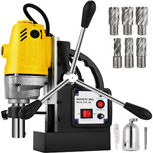 Md40 Electric Magnetic Drill Press 1 5 Boring W 6pc 1 Hss Annular Cutter Bits