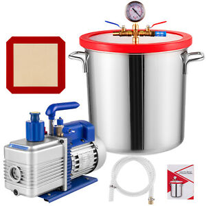 5 Gallon Stainless Steel Vacuum Degassing Chamber Silicone Kit W 5 Cfm Pump Hose