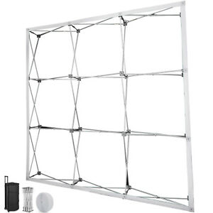 8 Pop up Tension Fabric Trade Show Display Booth Frame Stand Pop Up Free Case