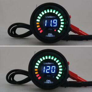 2 52mm Digital Analog Led Car Oil Pressure Gauge Meter 0 120 Psi With Sensor Us