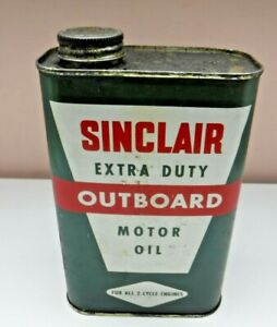 Vtg Sinclair Extra Duty Outboard Motor Oil 1 Quart Can 2 cycle Empty Dinosaur