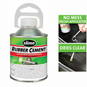Slime 1050 Rubber Cement 8oz Complete Tire Sealant For All Rubber Repairs