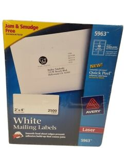 Avery Laser Labels Mailing Permanent 2 x4 2500 bx White 5963 New Sealed