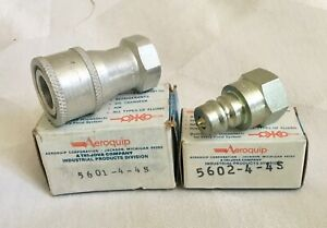 Aeroquip Quick Disconnect Fitting Set Of 2 5601 4 4s female 5602 4 4s male