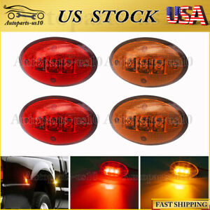 4pcs Red Amber Dually Bed Front Rear Side Fender Led Light For Ford 99 10 F350