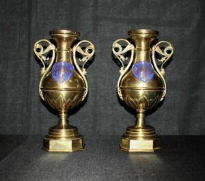 Rare Antique Pair Of Brass Handle Blue Enamel Shields Candle Holder Urns France