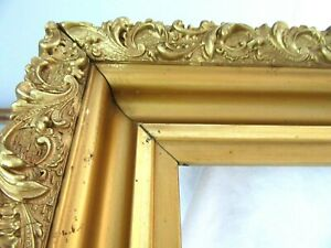 Big Antique Fits 20 X 24 Gold Picture Frame Wood Gesso Fine Art Ornate Country
