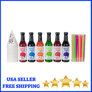 Snow Cone Syrup Shaved Ice Flavor Mix 12 7oz 6 Pack With Cups And Straws
