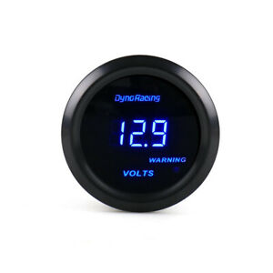 Universal 2 52mm Blue Digital Led Volt Meter Electronic Voltage Gauge Tint Lens