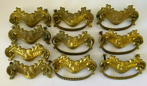 Antique Victorian Stamped Gold Brass Drawer Pulls Set Of 10