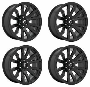 Set 4 20 Fuel D675 Blitz 20x10 Gloss Black 8x180 Wheels 18mm Lifted Truck Rims