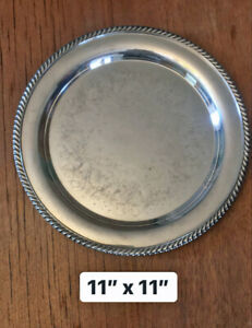 Vintage William Rogers 11 Silver Plated Engraved Serving Tray Circa 1825 1841
