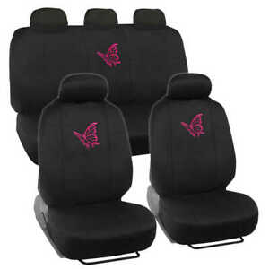Pink Butterfly Car Seat Covers Full Set Front Rear Universal Fit Protectors