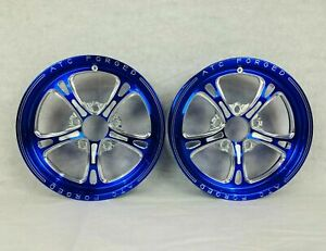 17 Front Drag Racing Wheels prima Blue Contrast Cut Set Of 2