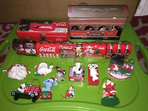 Coke Coca Cola Mini Christmas Lunchbox Orniments Bears And Tins Lot of 16
