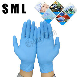 100 Pcs Blue Nitrile Durable Rubber Cleaning Hand Gloves Powder Latex Free Us