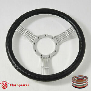 14 Polished Billet Carbon Fiber Steering Wheel Ford Gm Corvair Impala Chevy Ii