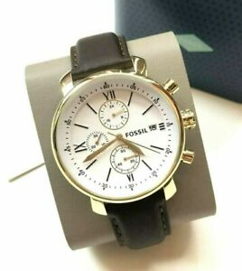 NWT Fossil BQ1009 Men's Brown Leather Strap White Dial Chronograph Watch $52.99