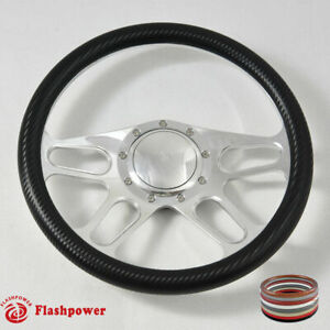 14 Polished Billet Carbon Fiber Steering Wheel Caprice Gm Corvair Impala W Horn
