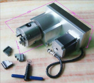 4th A axis Rotary Axis Cnc Router Rotational 3 jaws 80mm Chuck For Cnc Milling