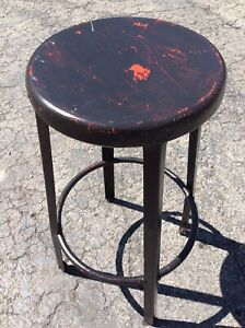 Vintage 29 Tall Metal Stool W Foot Rail 13 Round Seat Good