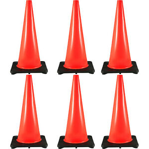 28 Traffic Safety Parking Cones 6 Pcs Warning Roads Construction 14 X 14
