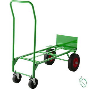 Hand Truck Convertible Dolly 200lb 300lb With 10inch Solid Wheels In Green