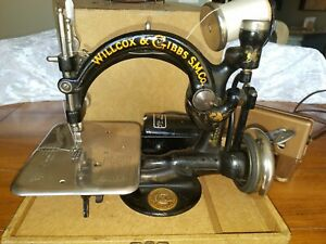 Antique Willcox Gibbs Chain Stitch Sewing Machine Electric Foot Pedal