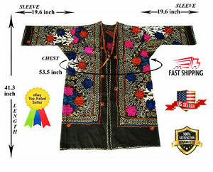 Uzbek Vintage Embroidery Multicolor Suzani Robe Dress Jacket Sale Was 190 00