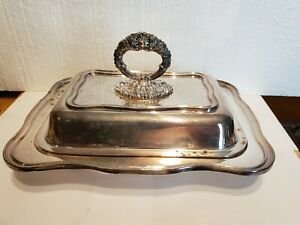 Vintage Silver On Copper Serving Dish With Lid Sheffield Imperial Empire