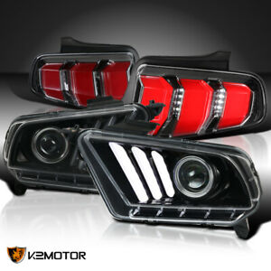 For 2010 2012 Mustang Sequential Jet Black Projector Headlights led Tail Lamps