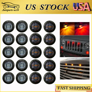 20x Smoked Red Amber 3 Led Universal Auto Grille Light Kit Front Grill Marker Fits 1955 Ford
