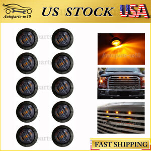 10x 34 Smoked Amber 3 Led Universal Auto Marker Grille Lighting Kit Fits 1955 Ford