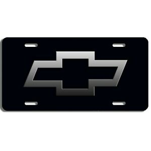 Chevy Bowtie Aluminum Vehicle License Plate Car Truck Suv Tag Black