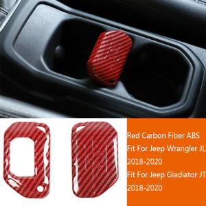 Red Carbon Fiber Abs Key Fob Cover Case Protector For Jeep Wrangler Jl 2018 2020