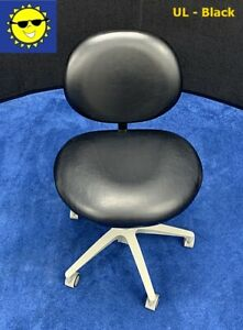 Pelton Crane Dental Doctor Stool Black Ultraleather Upholstery