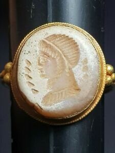 Ancient Roman Emperor Agate Intaglio With Old 18 Carat Gold Ring 3 96 G