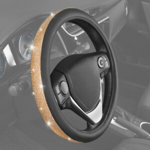Shiny Metallic Bling Cute Leather Steering Wheel Cover Universal Size Gold