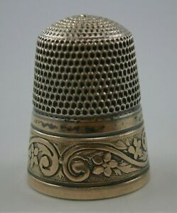 Size 9 Sterling Silver Thimble With Floral Motif Band With A Gold Wash Simons